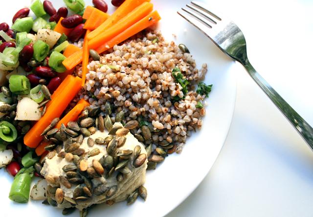 Oppskrift Vegansk Sunn Middag Hverdagsmiddag Ristet Bokhvete Hummus Kjøttfri