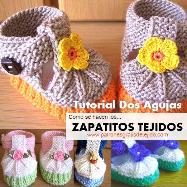 Cómo tejer zapatitos con dos agujas / Tutorial | Crochet y Dos ...