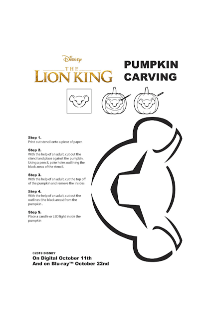 Disney Lion King Simba Halloween Pumpkin Stencil