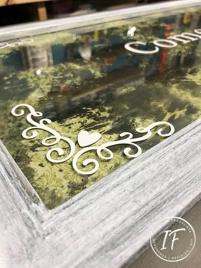DIY Antiqued Mirror Cornice