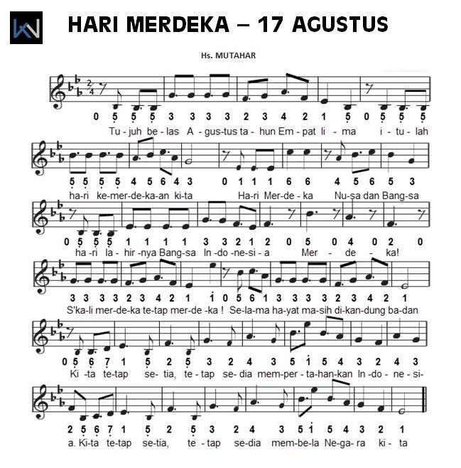 Not Angka Piano Pianika Lagu Hari Merdeka (17 Agustus 1945 ...