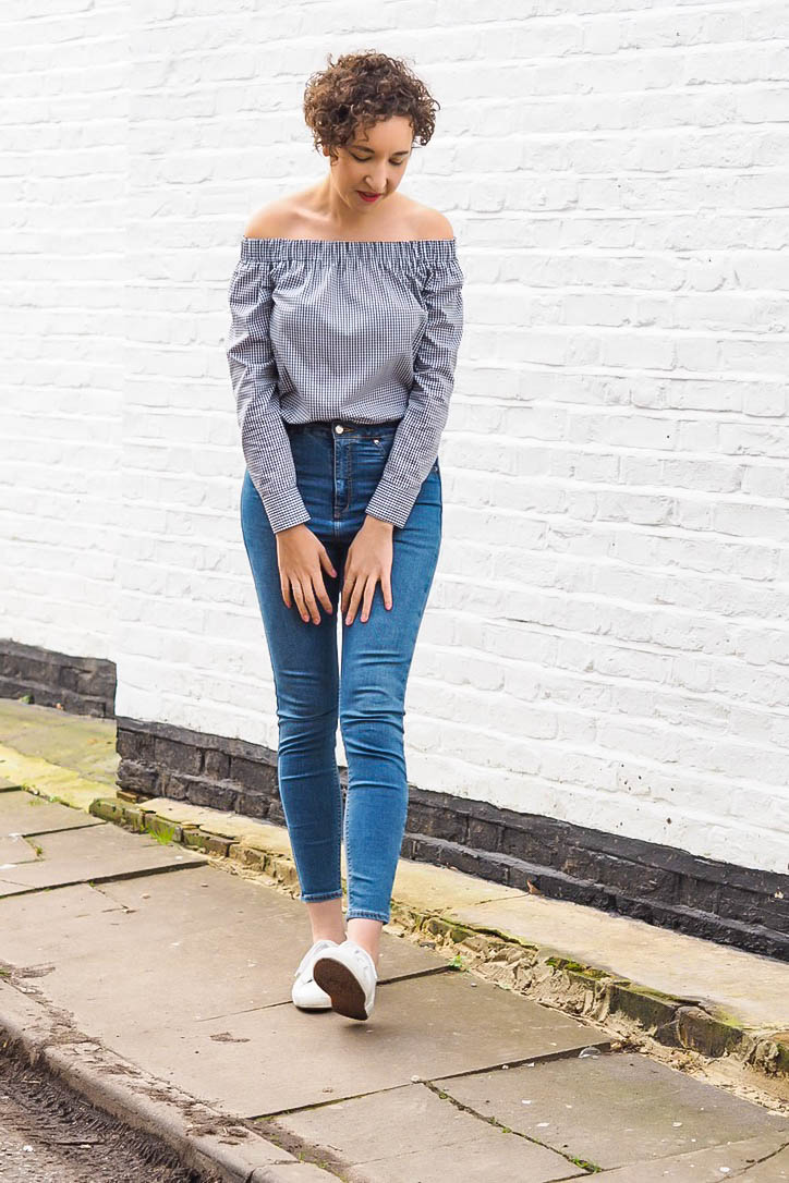 Gingham bardot top, blue jeans