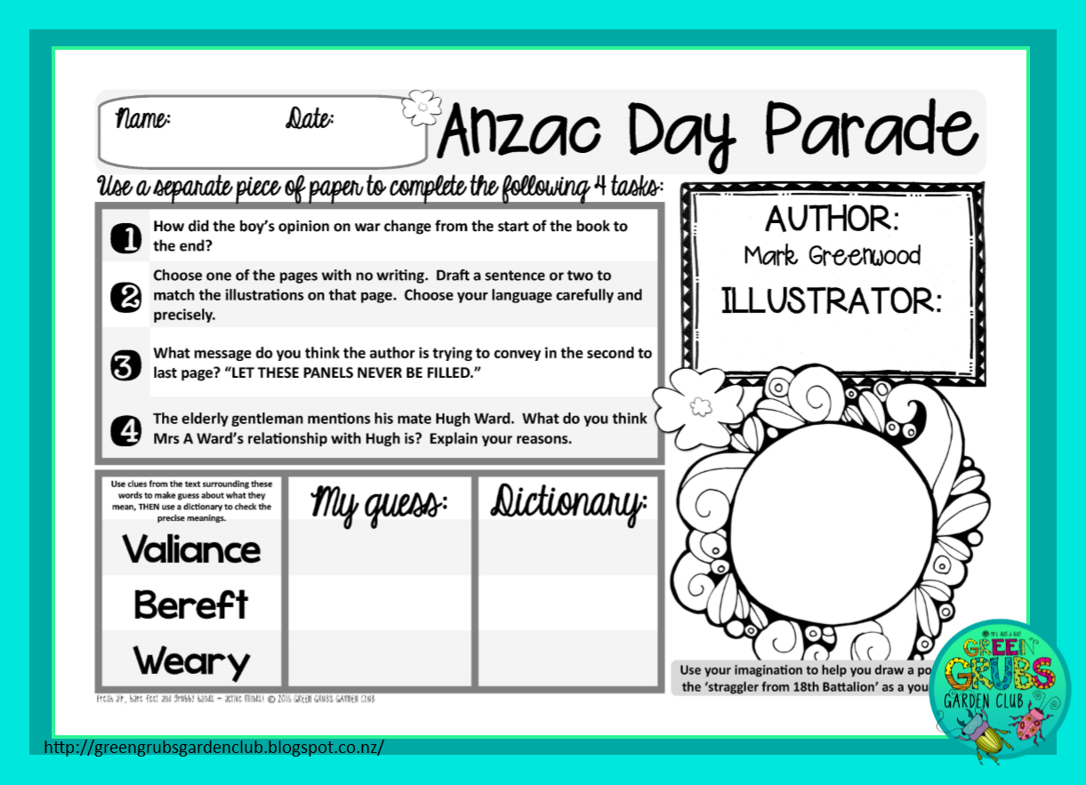Green Grubs Garden Club Best Read Alouds For Anzac Day Free Printable Follow Up Activity Sheets