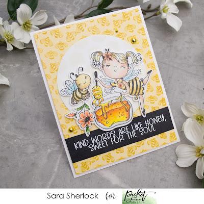 Picket Fence Studios October Release Card: Honey Dear Stamp, Buzz Stamp, Honeycomb Stencil, Ink Blending, Prismacolor Pencils
