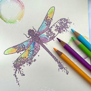 grunge dragonfly stamp