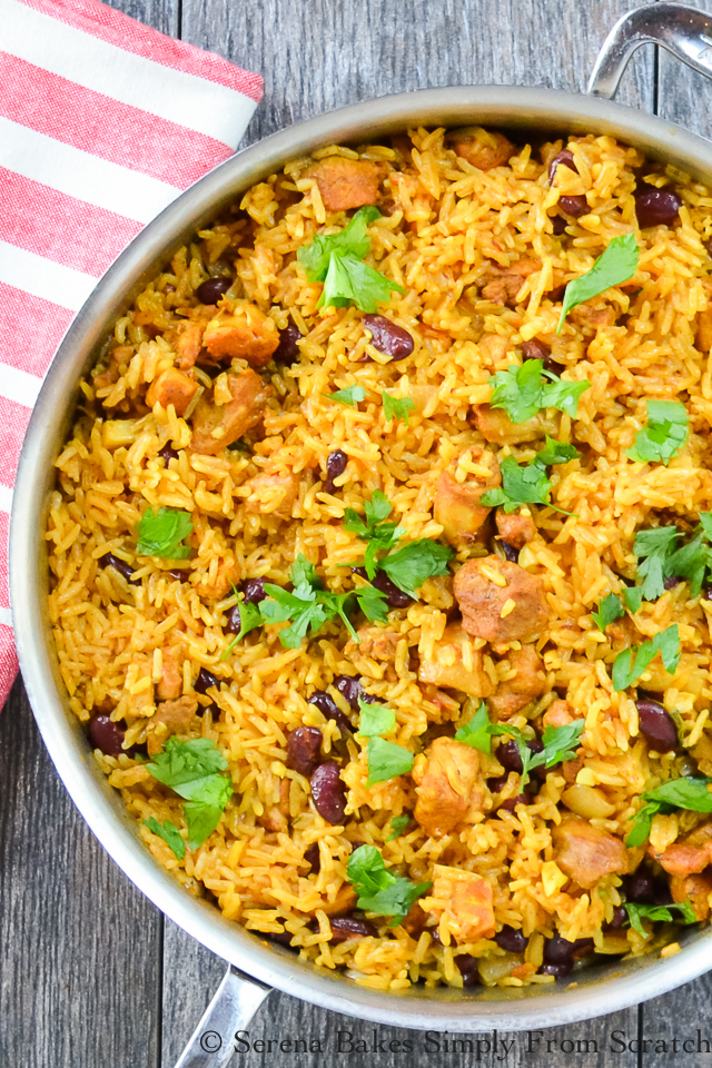 One Skillet Caribbean Curry Chicken Red Beans and Rice. An easy dinner recipe done in under 30 minutes! serenabakessimplyfromscratch.com