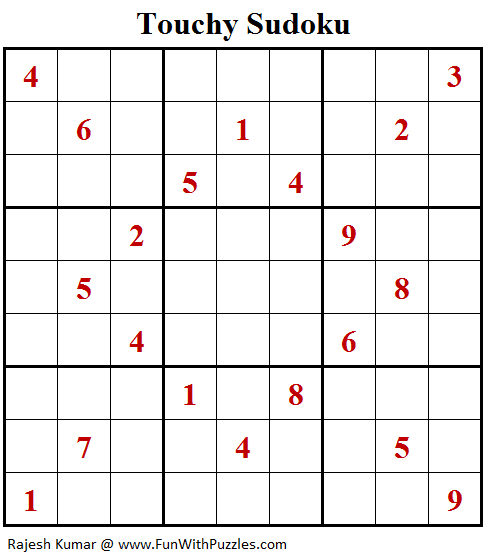 Touchy Sudoku Puzzle (Fun With Sudoku #336)