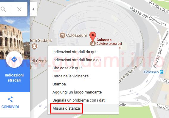 Google Maps funzione Misura distanza menu contestuale mouse
