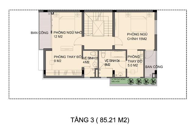 Mặt bằng mẫu biệt thự P1-3 - Tầng 3