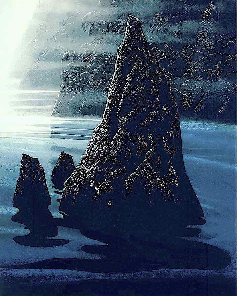 Eyvind Earle, a dark rocky island
