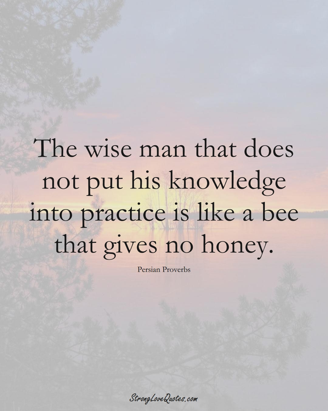 The wise man that does not put his knowledge into practice is like a bee that gives no honey. (Persian Sayings);  #aVarietyofCulturesSayings