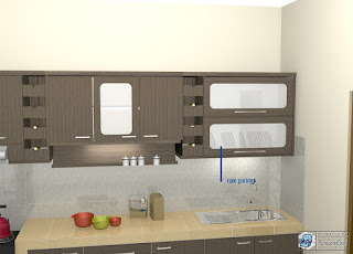 Desain Interior Kitchen Set Model Lurus Warna Kayu Tua