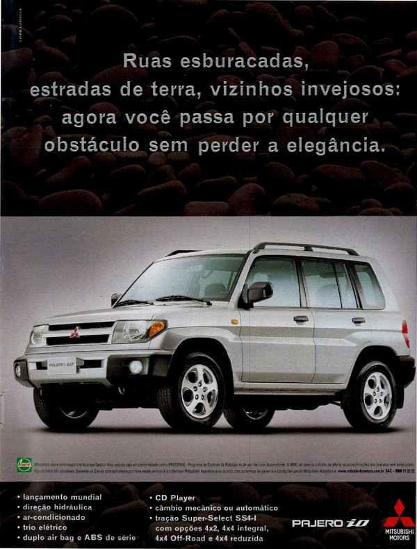 Anúncio da Mitsubishi em 1999 promovendo o modelo iO da Pajero
