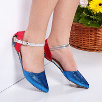 Sandale Lennert albastre cu talpa joasa