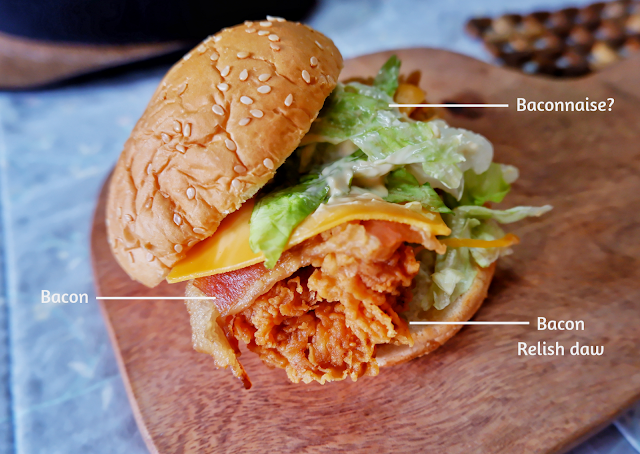 johnny bites, kfc, fast food, sandwich, chicken, bacon