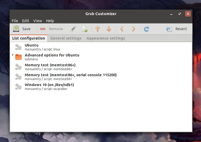 Grub Customizer grub menu order