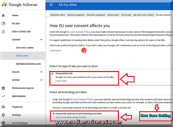 How Adjust EU User Consent Policy Message in Google Adsense Accounts Settings