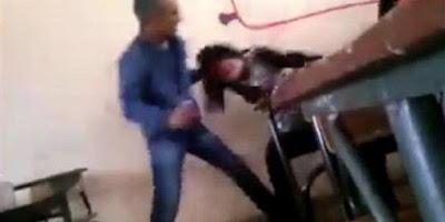 مدرس يضرب تلميذة بوحشية لسبب غريب