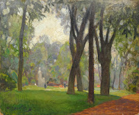 Wooded Park Landscape Painting, France, Nikolai Becker