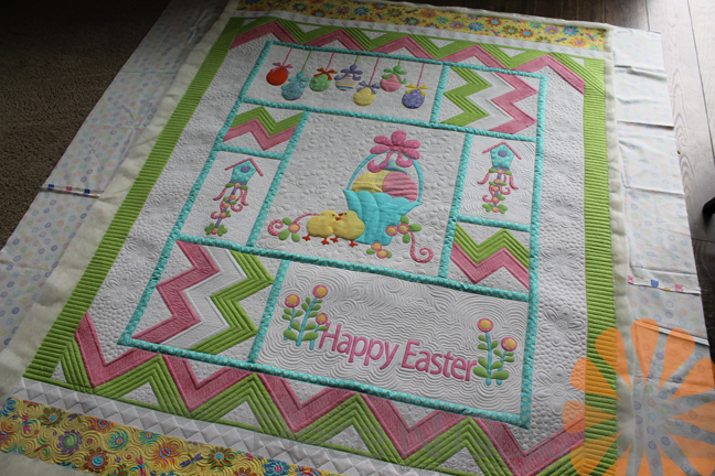 Piece n quilt easter quilt custom machine quilting by natalia bonner this quilt actually comes as a laser cut quilt kit all of the applique pieces are laser cut so putting the top together is much easier negle Images
