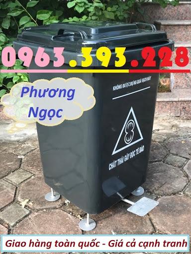 Thùng rác 60L nhựa HDPE, thùng rác 60 Lít nắp kín, thùng rác đạp chân NK60L1
