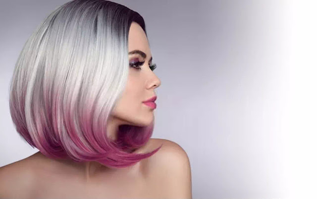 Purple Ombre bob short hairstyle