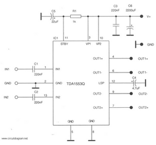 Circuit Diagram 2 x 22W-BTL Car Audio Amplifier Using TDA1553CQ