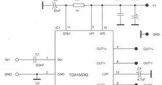 2 x 22w btl car audio amplifier da1553cq diy circuit