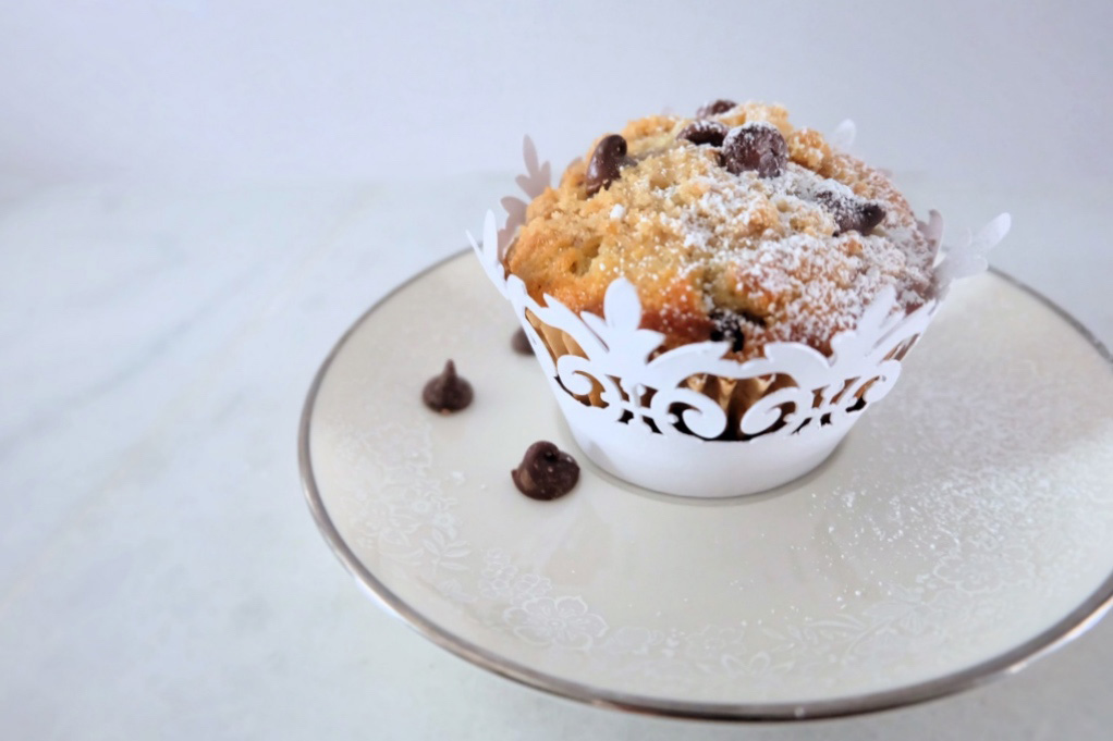 buttermilk chocolate chip crumb cupcake on a plate