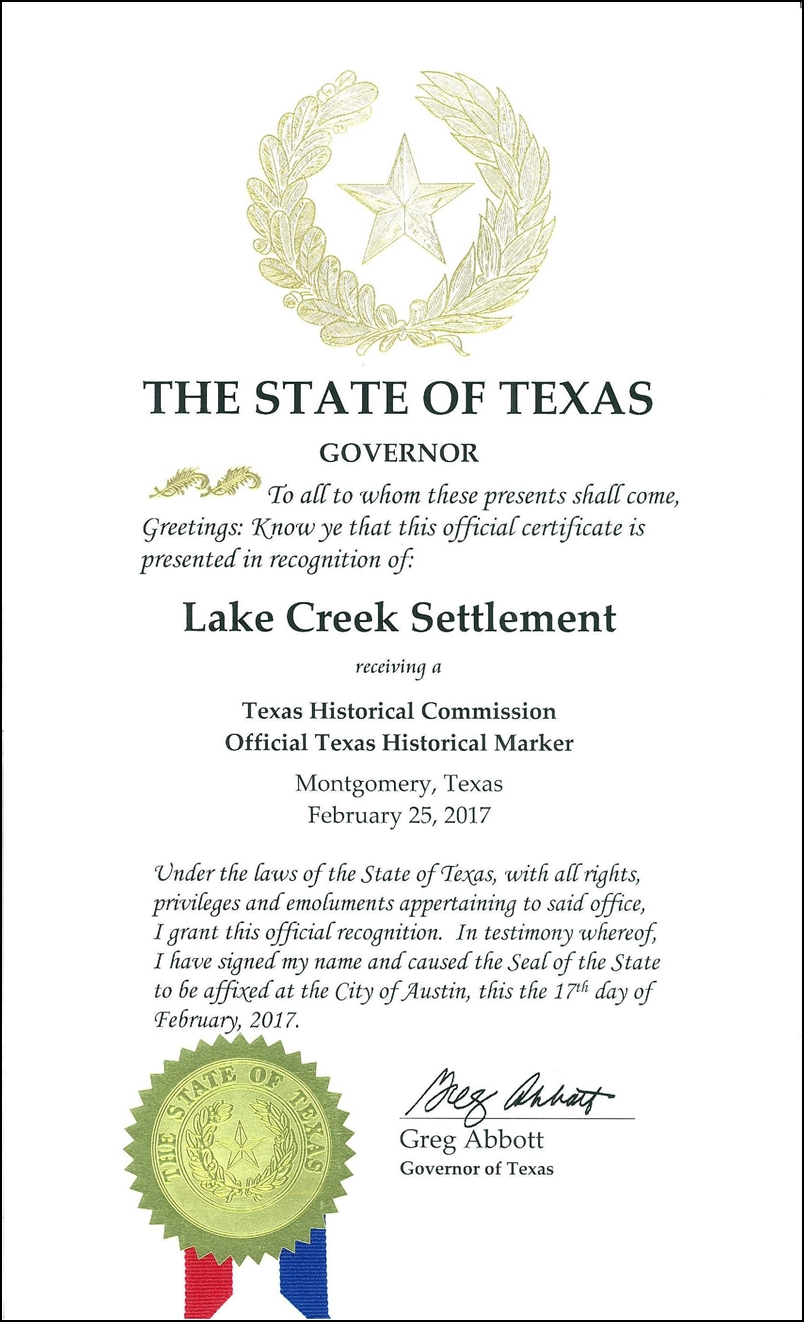 Texas history page proclamation of governor gregg abbott commemorating the texas historical commission marker for the lake creek settlement xflitez Images