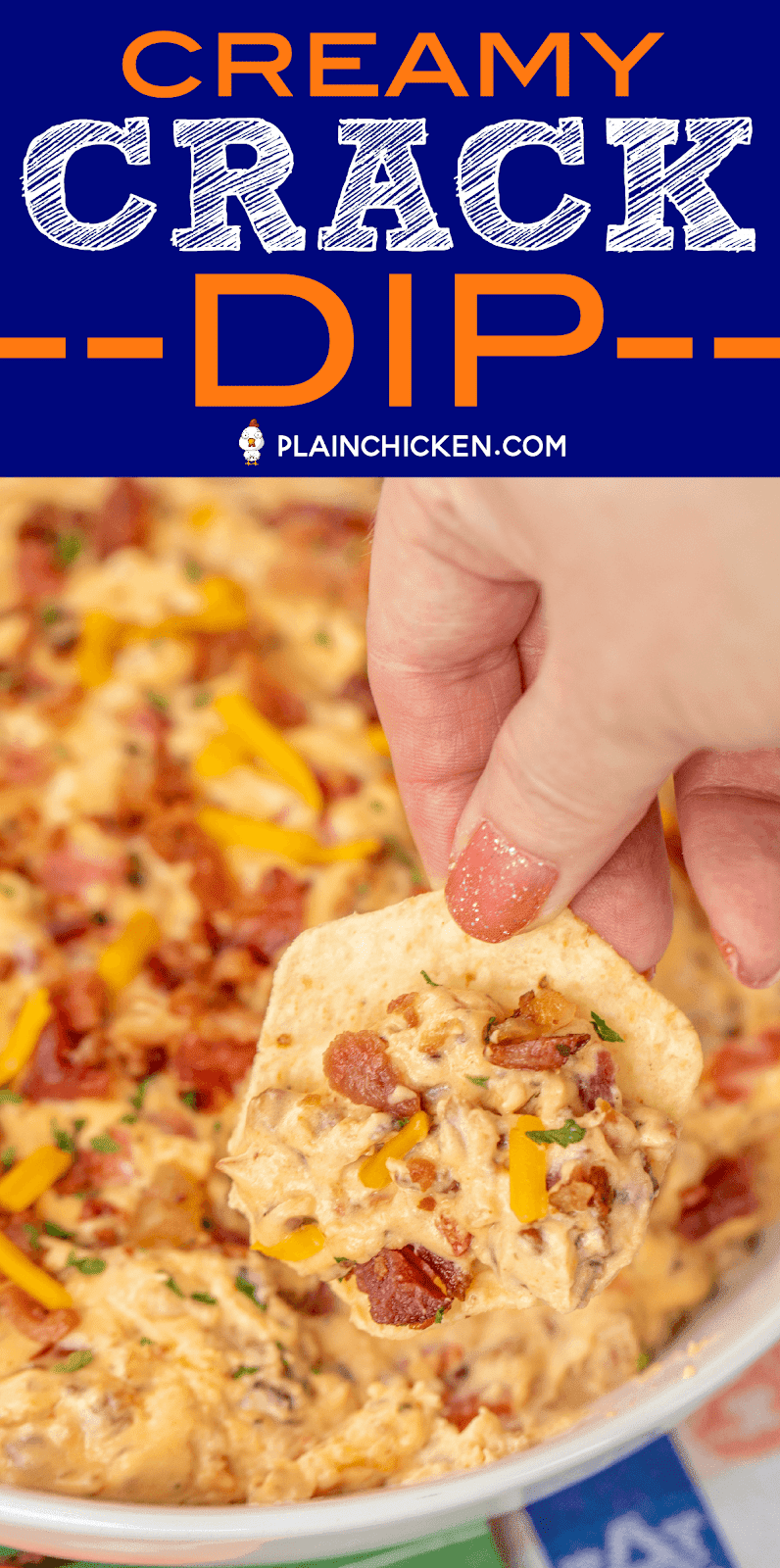 Creamy Crack Dip - only 5 simple ingredients! Great for parties and watching football!! Bacon, cream cheese, cheddar cheese, Ranch dressing mix and milk. I took this to a party and it was gone in a flash. Everyone asked for the recipe. Serve with chips or veggies. #dip #superbowl #bacon #appetizer