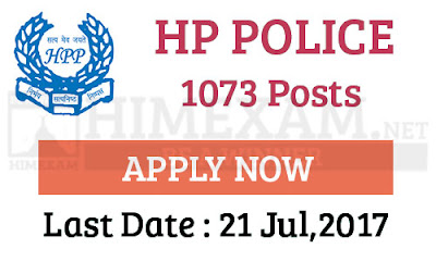 HP Police 1073 Post Recruitment 2017- Last Date 21st July,2017