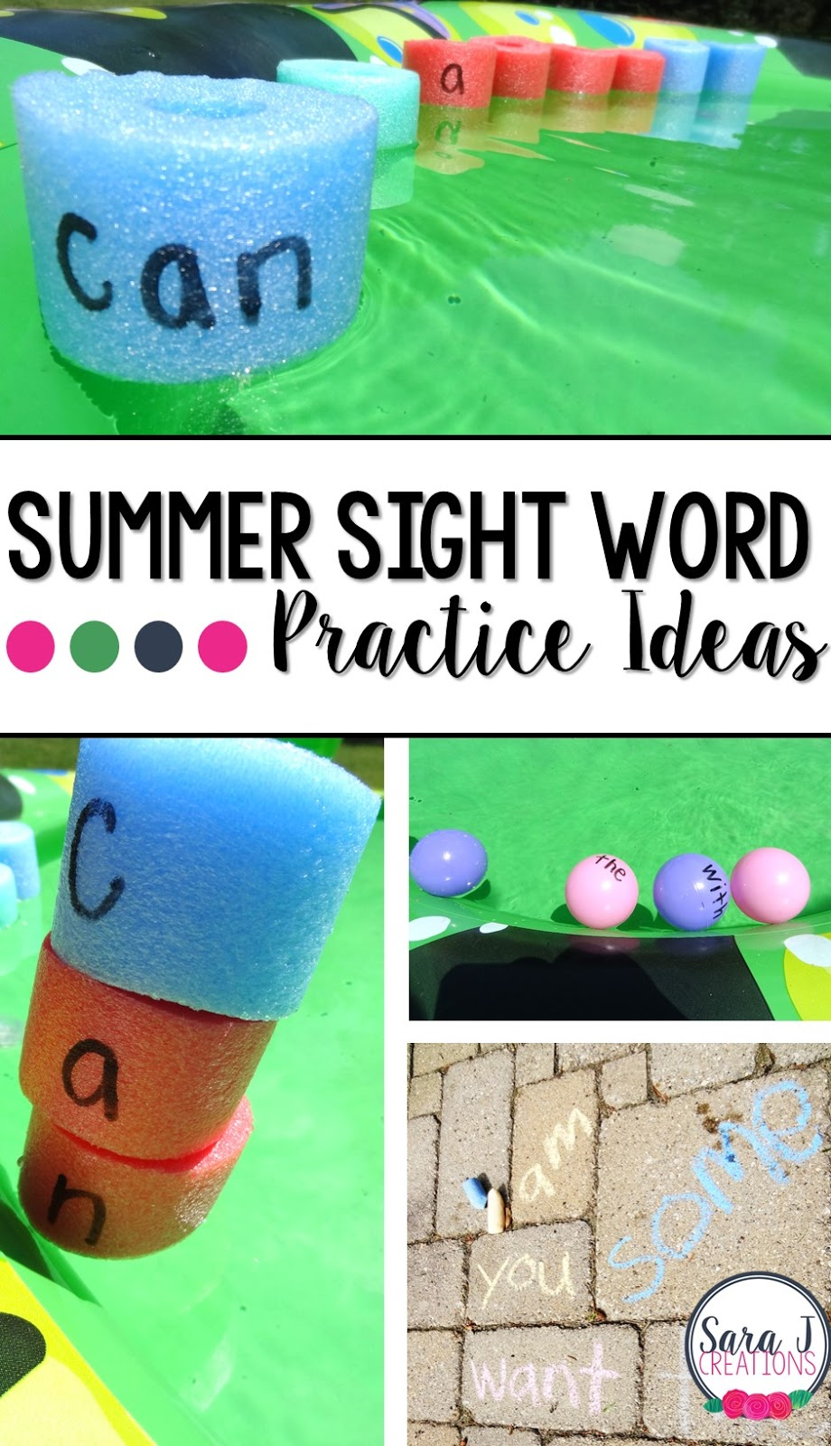 Here are 3 easy ways to make practicing sight words fun, hands on and best of all, an outside activity!  You can do these in the classroom/playground or at home.