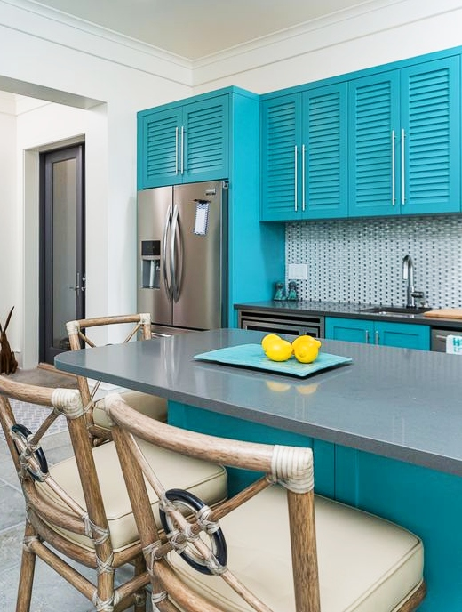 Teal Blue Kitchen Cabinets and Island
