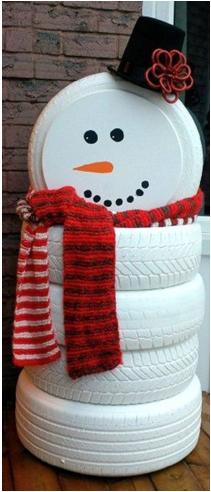 adornos navideños con llantas de carro, adornos navideños para la terraza, cómo hacer un hombre de nieve, como hacer un frosty grande para la terraza