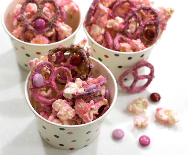 valentine's valentines valentine day snack treat dessert idea school popcorn pretzels m&ms chocolate pink mix
