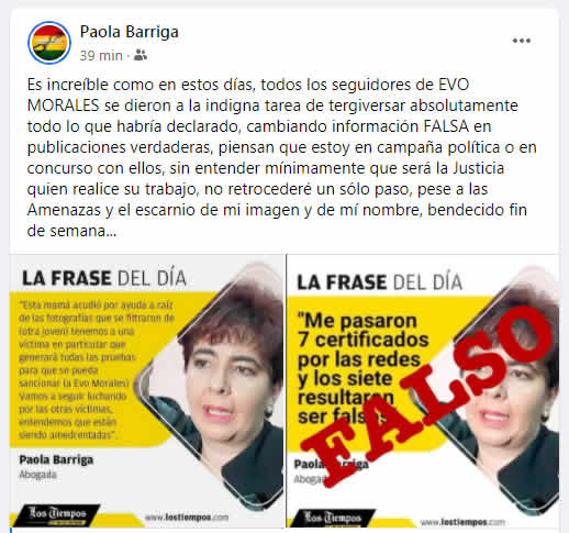 Publicación en el muro de Facebook de la abogada Paola Barriga