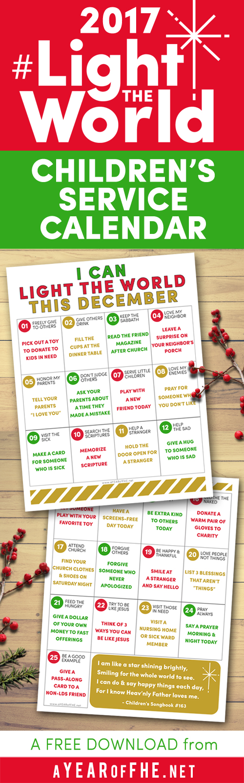 A year of fhe lds light the world 2017 childrens service a year of fhe download this free 2017 light the world service calendar for geenschuldenfo Choice Image