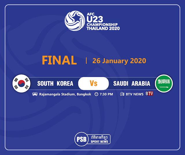 Live Streaming South Korea vs Saudi Arabia AFC U23 Final 26.1.2020.