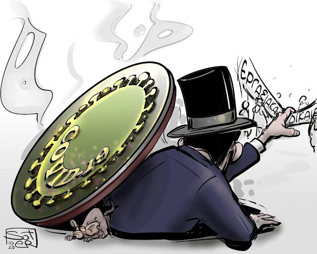 Πρωτομαγιά 2020 Γελοιογραφία  covid-19 πανδημία πρωτομαγιάτικο εργασιακά δικαιώματα