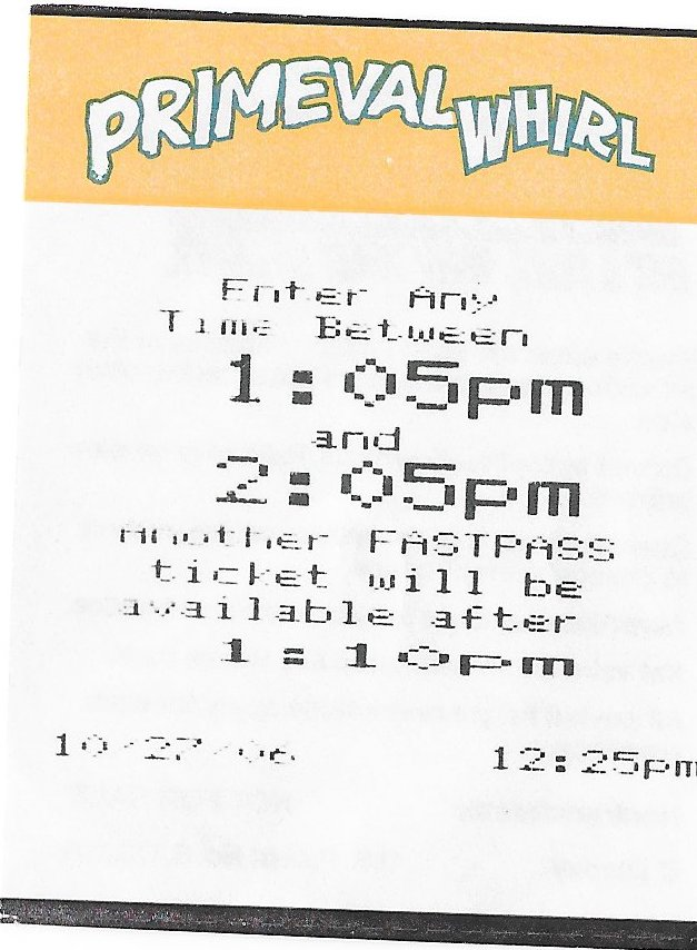 Primeval Whirl Fastpass Disney World 1:05-2:05