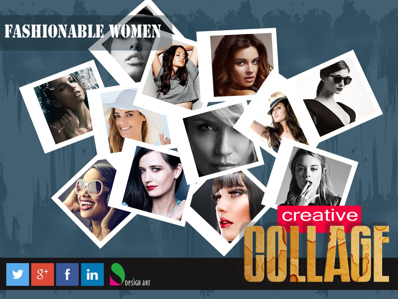 fashionable women creative photo collage design dashy design art