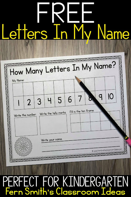 Free How Many Letters In My Name Activity. My blog now has over 250+ FREE teacher downloads available to help you spend more time with your family!
