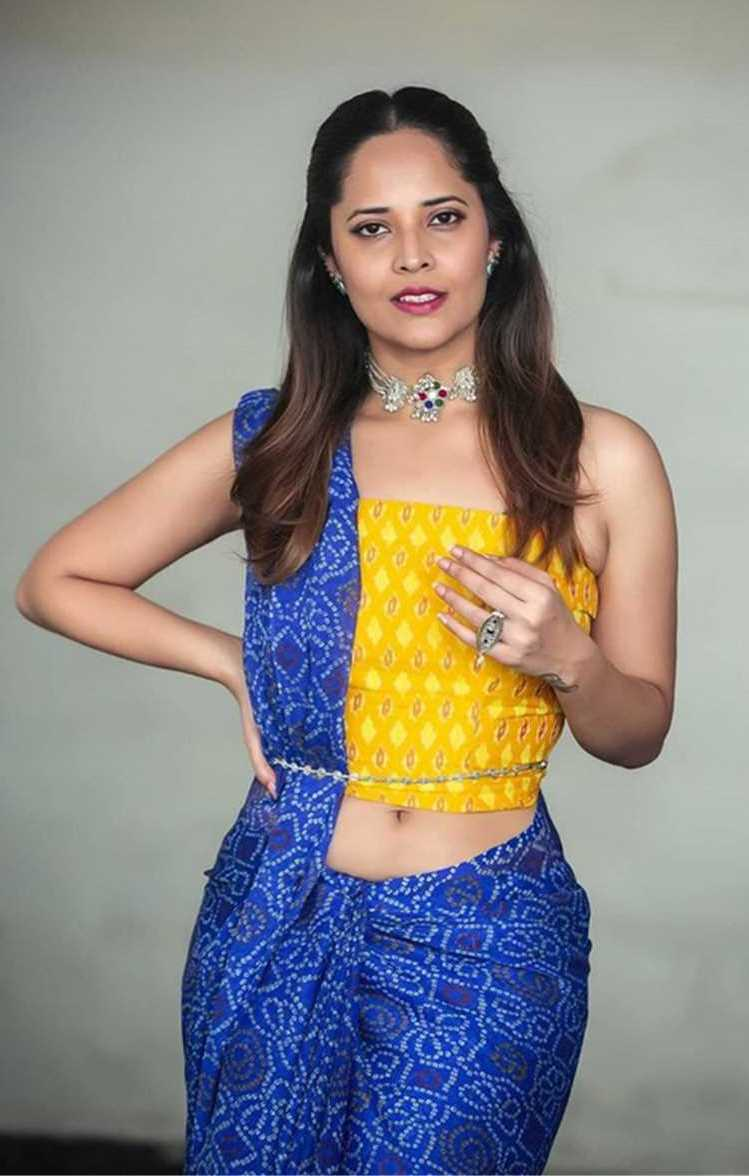 Anasuya hot images - Navel Show in Blue dress