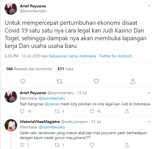 Arief Poyuono: Demi Pulihkan Ekonomi Ditengah Covid-19, Legalkan Judi dan Casino