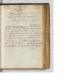 Copie numérique du Feu des acteurs du 20/09/1773 au théâtre de la Comédie française