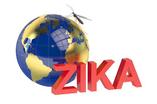 "Globe with the word ""Zika"" in front, in red uppercase letters"