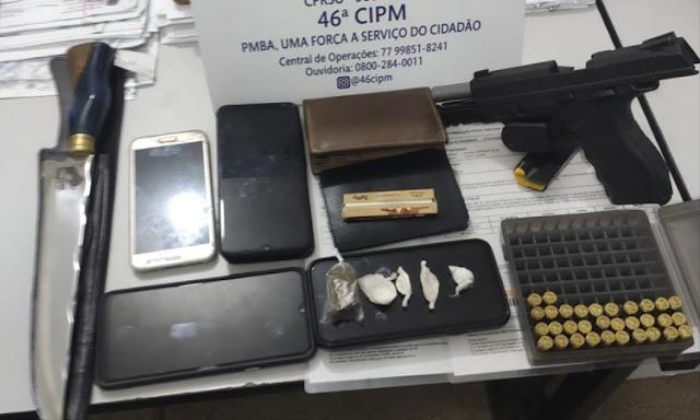 Cigano é preso com pistola, munições e drogas na Chapada Diamantina