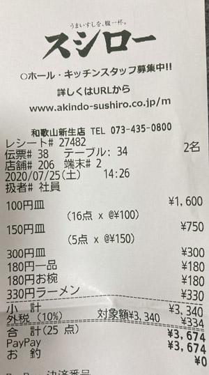 スシロー 和歌山新生店 2020/7/25 飲食のレシート