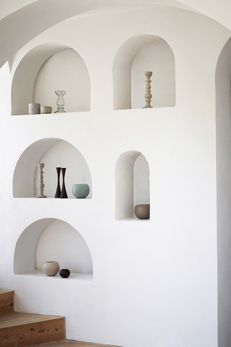 Arched wall niches at the labyrinth estate of Catalan sculptor Xavier Corbero near Barcelona